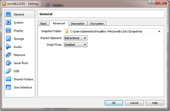 Create VM Setting Shared Clipboard