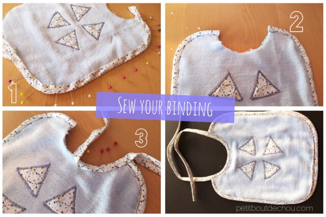 Sew own binding to create easy and cute bibs