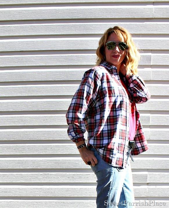 plaid flannel-flare-jeans-birkenstocks-2