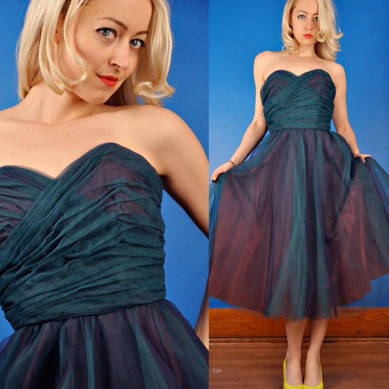 Marine Blue Green Vintage 50s Strapless Tulle Party Dress S