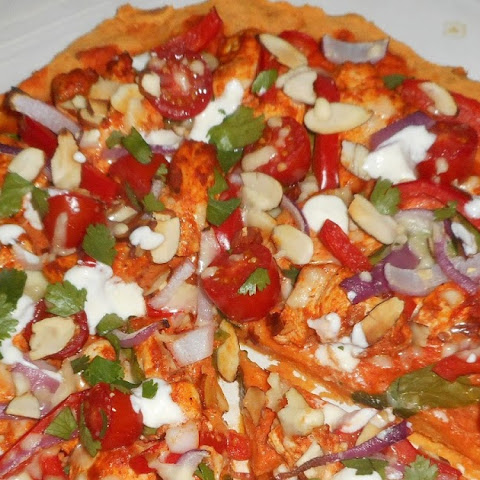 Tandoori Chicken on Sweet Potato Pizza