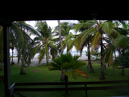 We stayed in a cabin on the coast of Colombia before heading to the island.