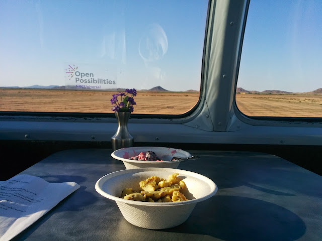 Breakfast in the dome car of the train