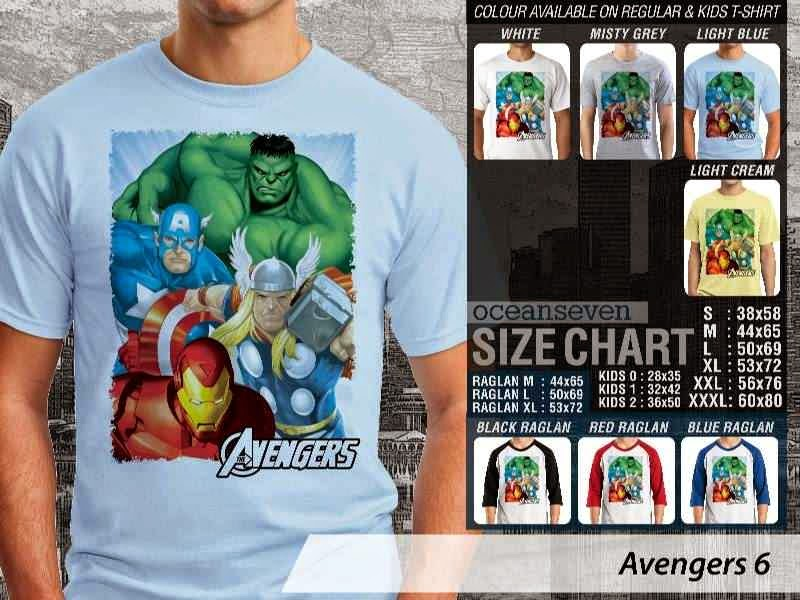 Jual Kaos Captain America hulk iron man thor 6 Avengers