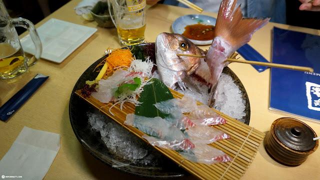 Tai sashimi at Zauo self-fishing restaurant in Shinjuku, Tokyo - Japan in Shinjuku, Tokyo, Japan