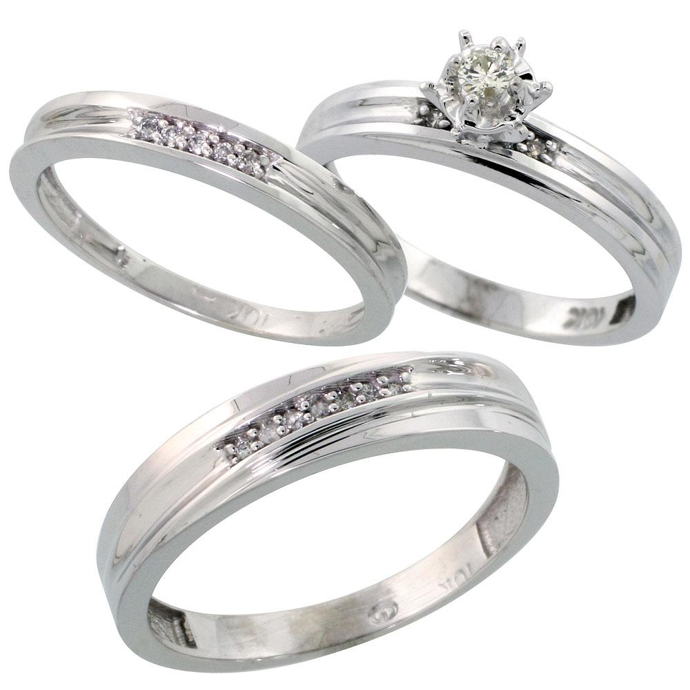 10k White Gold 3-Piece Trio His  5mm  & Hers  3mm  Diamond Wedding Band Set,