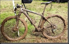 My bike after the run.   And now it makes funny sounds and wobbles.