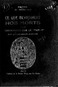 Cover of Papus's Book C'e Que Deviennent Nos Morts (Suivi de Meditations Sur Le Pater)
