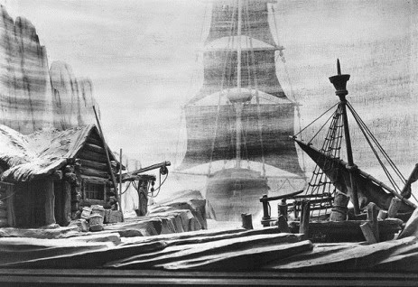 Charles Moor's scenic design for Act Three of Richard Wagner's DER FLIEGENDE HOLLÄNDER in the Coronation Season production of 1937 [Image from the collection of the Royal Opera House, © by the Royal Opera House, Covent Garden]