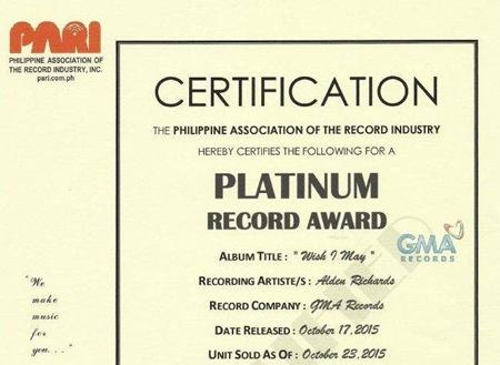 Alden Richards Wish I May receives Platinum Record Award
