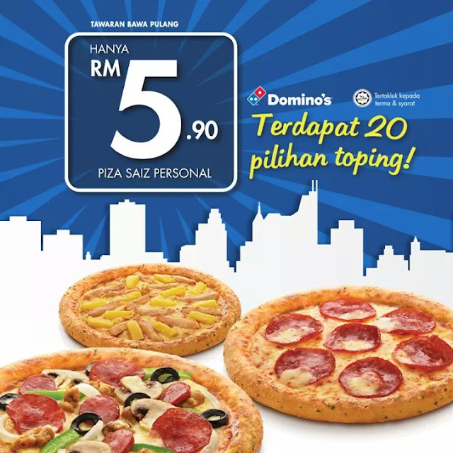MURAH !! RM5-90 Dominos Personal Pan Pizza