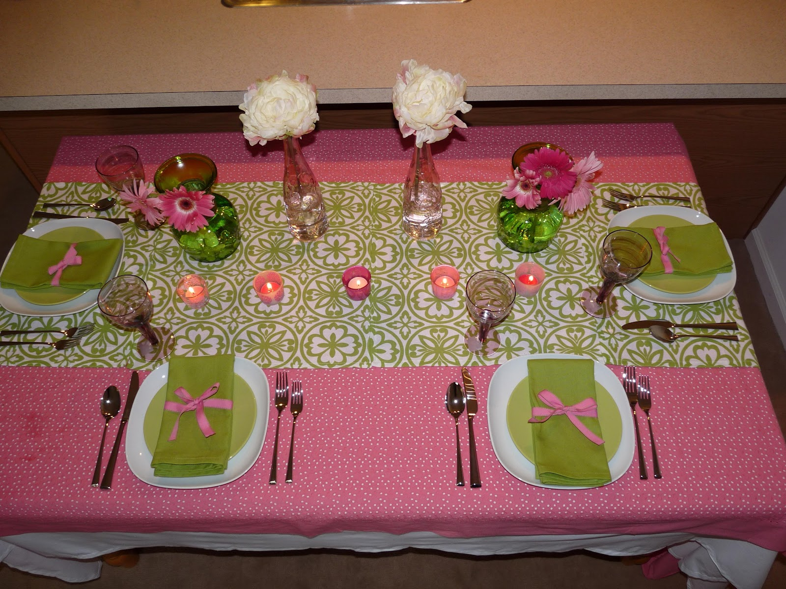 Pink and Green Table Setting- & Tanyau0027s blog: Pink and Green Table Setting-