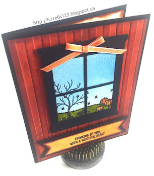 Linda Vich Creates: Vintage Leaves and Happy Scenes. A lovely fall scene is created behind a window cut with the Hearth & Home Framelits.