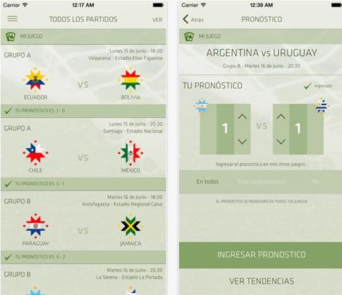 App de pronósticos de la Copa América 2015