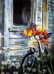 Bicyclette et hangar , pastel sec,14 x 11 po.