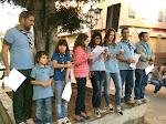 Los que leerán el Manifiesto: el presidente de Scouts de Tenerife y un educando por cada sección, un scouter y un padre