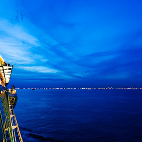 Blue at Sea by Ray Shiu - Landscapes Waterscapes ( water, ship, sea, ocean, scenic, boat, cruise, sky, vacation, voyage, dramatic, sail, nautical, World_is_Blue )