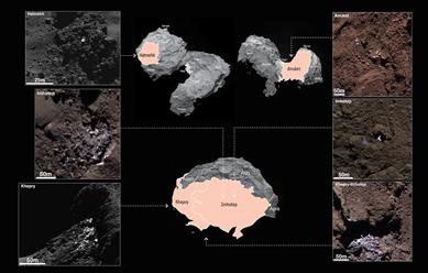 seis manchas brilhantes na superfície do cometa