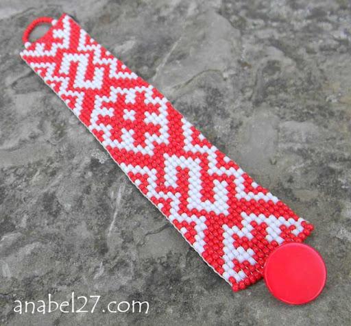 браслет из бисера славянский орнамент язычечтво  Anabel