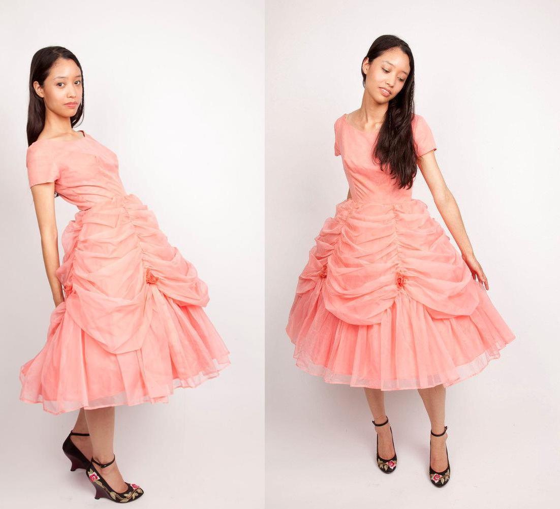 1950s Vintage Dress   Coral
