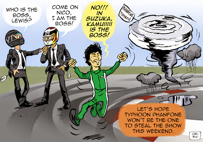 тайфун приближается к Сузуке - комикс Cirebox перед Гран-при Японии 2014