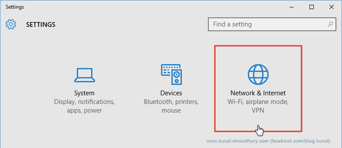 System Settings in Windows 10 (www.kunal-chowdhury.com)