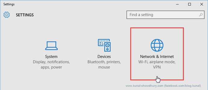 System Settings in Windows 10 (www.kunal-chowdhury.com)