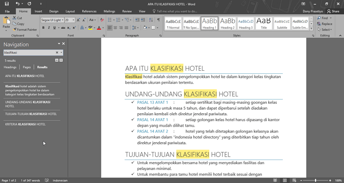 tema gelap office word 2016