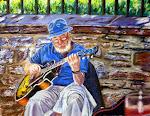 Le musicien de la rue, pastel sec,16 x 20 po.