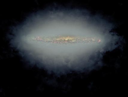 combinação dos halos de rádio de galáxias espirais