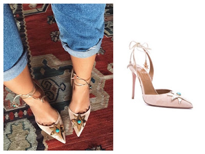 Emily Ratajkowski in Aquazzura x Poppy DeLevingne Midnight Moon Star Suede Heels