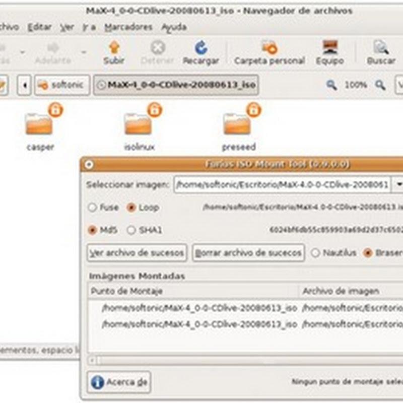 Furius ISO Mount montador de imágenes ISO sin usar la grabadora de CD.