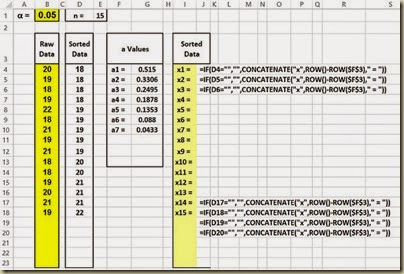 Shapiro-Wilk Normality Test in Excel - Numbered Xs