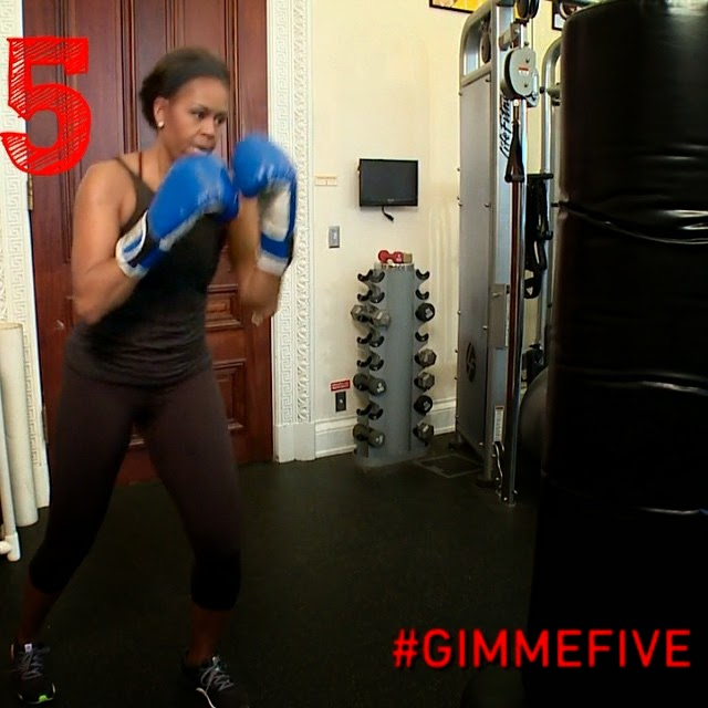 Michelle Obama Hitting Punching At The White House Gym