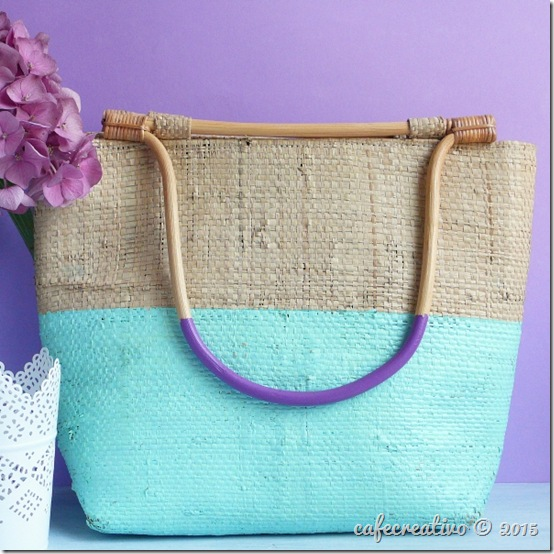 DIY Come personalizzare una borsa di paglia - colorblock bag (1)