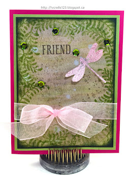 Linda Vich Creates: I Spy A Dragonfly. A watercolored matte, edged with ferns makes a perfect landing spot for a sparkly pink dragonfly from the Awesomely Artistic stamp set! Twinkling sequins and a sheer bow complete this lovely card.