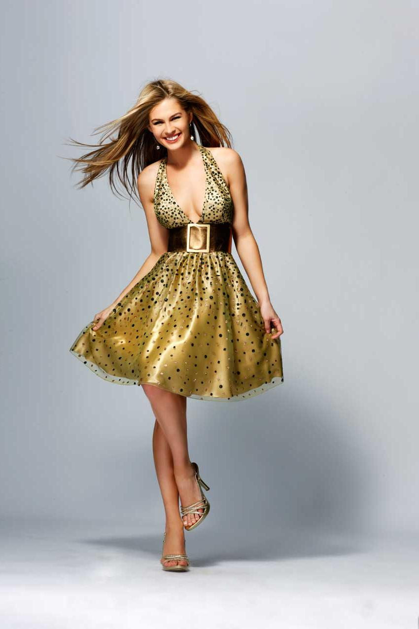 Halter Printed Prom Dress With A Gold Belt  FPD0042