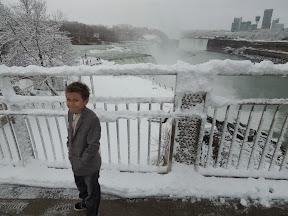 Amani trying to keep warm at Niagara Falls