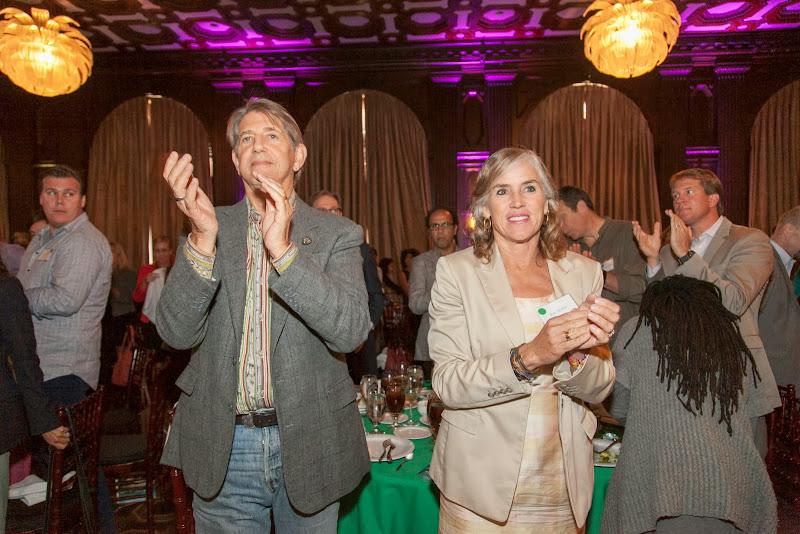 Peter Coyote and Kat Taylor applaud Mayalú Txucarramãe. September 25, 2013; San Francisco, CA, USA; Photo by Eric Slomanson / slomophotos.com