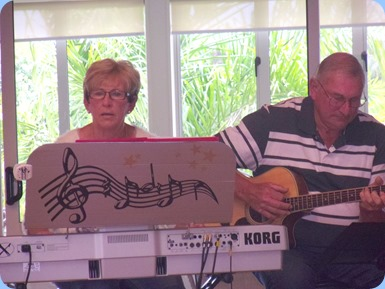 Jan and Kevin Johnston gave us a mini-concert. Jan on her Korg Pa1X and Kevin on a Crafter acoustic guitar (loaned courtesy of Music Planet Takapuna as Kevin's guitar was in for service). Photo courtesy of Delyse Whorwood.