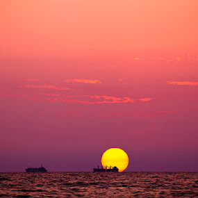 Sunrise by Robert Luca - Landscapes Sunsets & Sunrises ( orange, black sea, red, purple, blue, ship, sunrise )