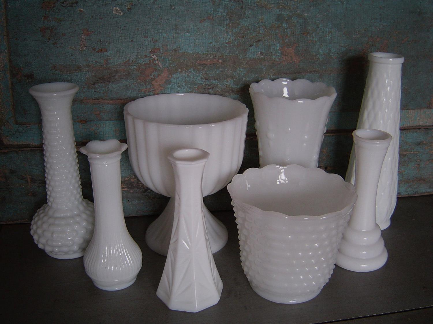 Collection of 8 Milk Glass