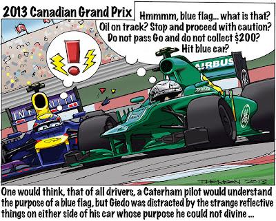 Гидо ван дер Гарде подрезает Марка Уэббера на Гран-при Канады 2013 - комикс Bruce Thomson