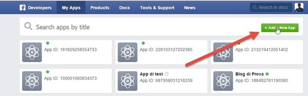 nuova applicazione facebook