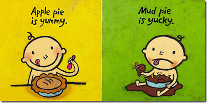 image from Yummy Yucky, children's board book by Leslie Patricelli