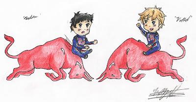 Марк Уэббер и Себастьян Феттель на красных быках в сезоне 2011 by huskywolf