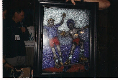 When thisportraitwas painted it was done in glitter by Int. Pop artist James Enders of Brian & Bruce Logan and donated to the Calif. Surf Museum on June 9, 2012.