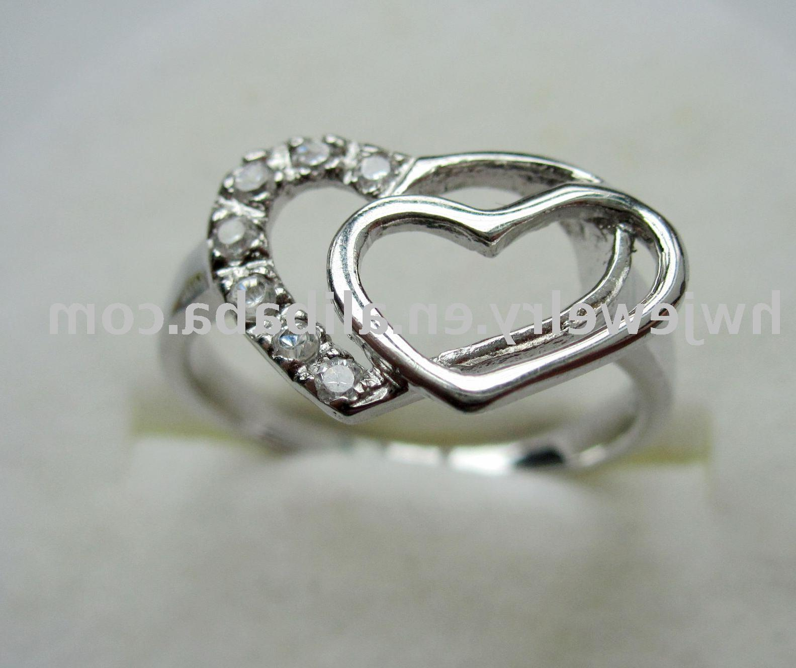 silver heart shaped rings