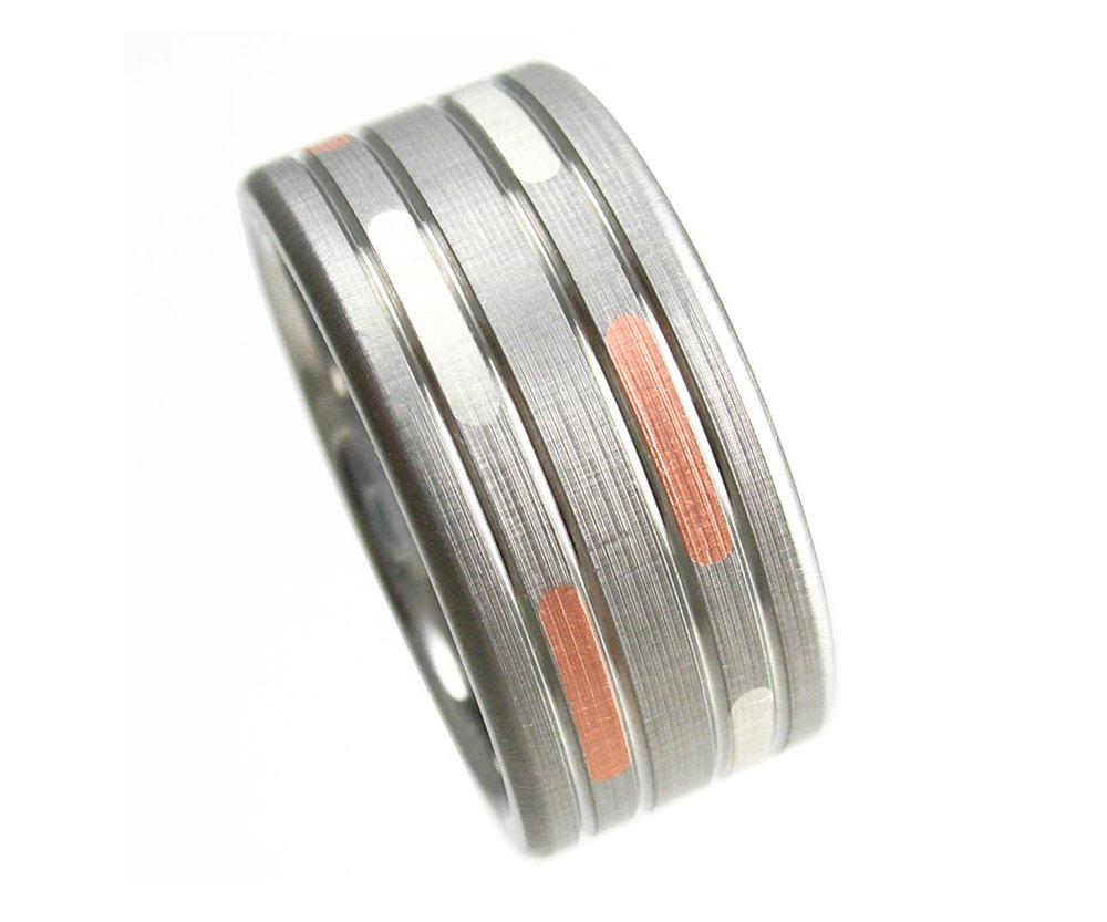 Titanium Wedding Ring Dashed