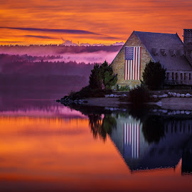 Sunset on the Old Stone Church by David Long - Buildings & Architecture Decaying & Abandoned ( old stone church, wachusett reservoir, sunset )